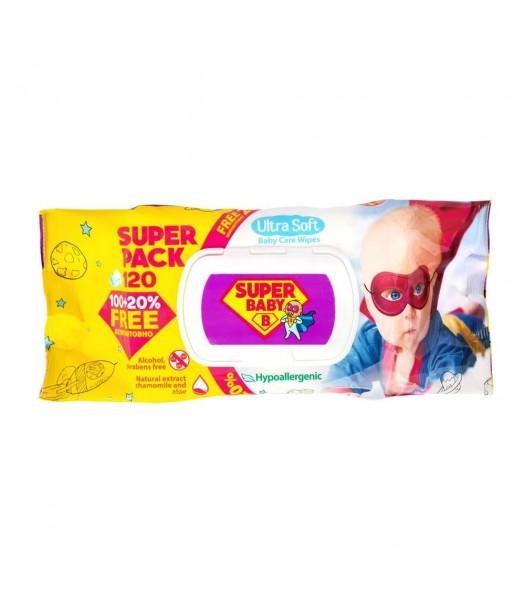 Салфетка влажная Super Baby Pack с Алоэ и ромашкой 120шт. с клапаном