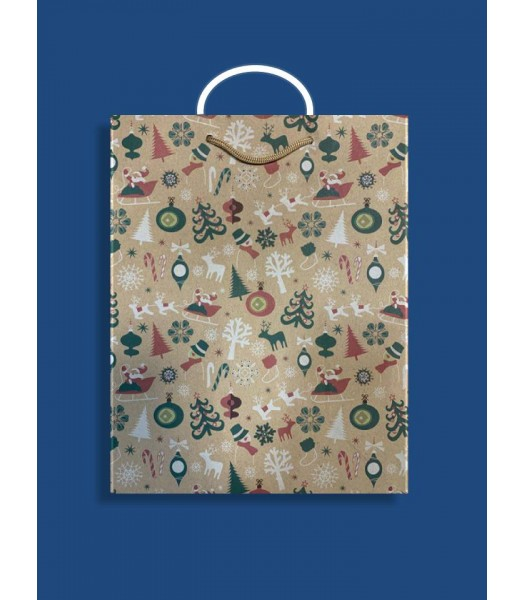 Новогодний Пакет Крафт L 230*365*100 (10 шт. в упаковке)