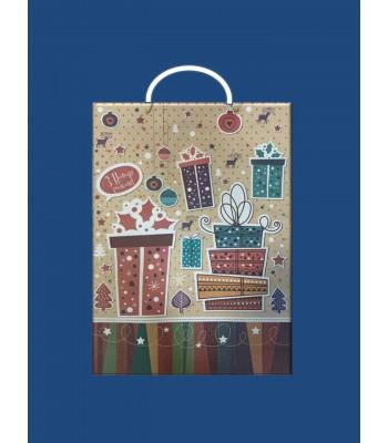 Новогодний Пакет Крафт XL 324*446*102 (10 шт. в упаковке)