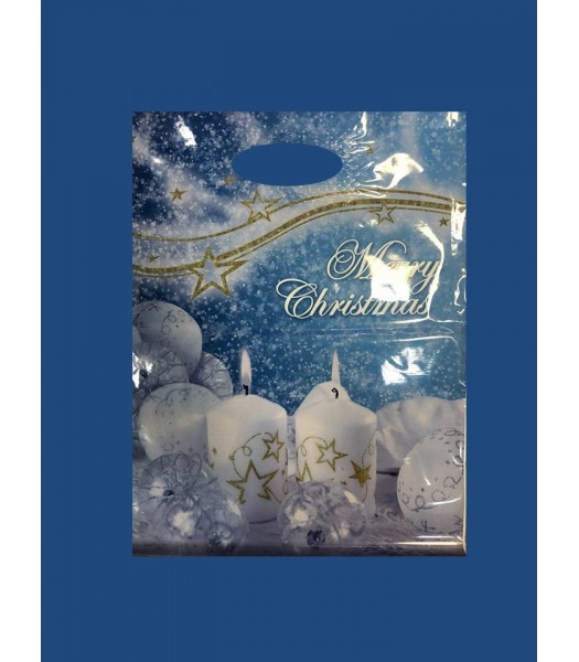 Новогодний пакет с прорезной ручкой 30*40 Ламинат