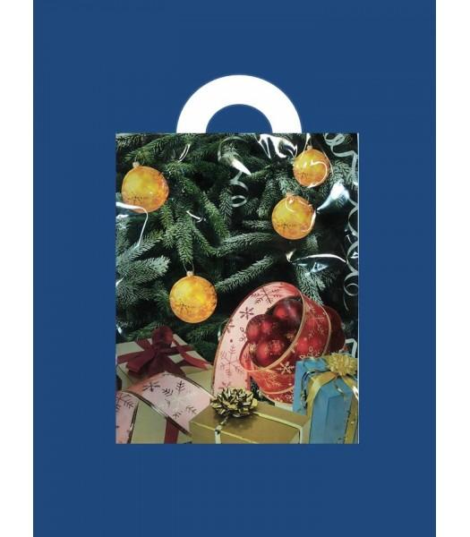 Новогодний Пакет с петлевой ручкой Ламинат мал. 25*30 25шт. в упаковке