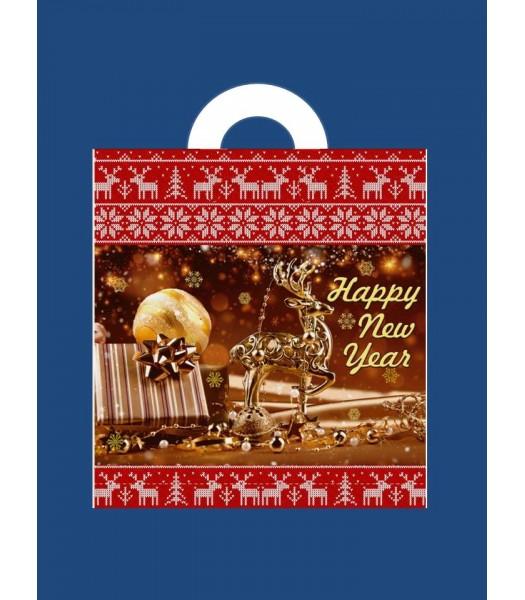 Новогодний Пакет с петлевой ручкой Сафари 38*42 25шт. в упаковке