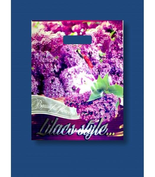 Пакет цветной с прорезной ручкой Цветы Ексклюзив   50шт. в упаковке