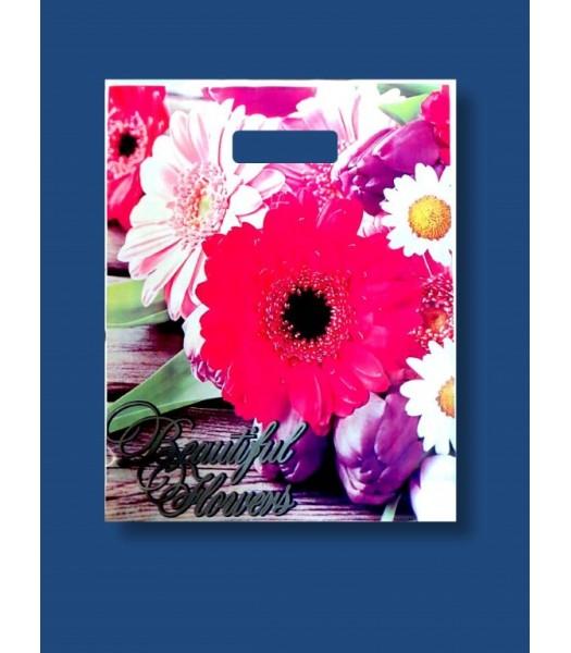 Пакет цветной с прорезной ручкой Цветы Ексклюзив 2  50шт. в упаковке